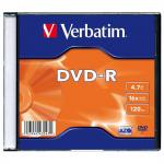 Диск DVD-R Verbatim Colour 16x 4.7Gb slimCase