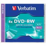 Диск DVD-RW Verbatim Colour 4x 4.7Gb slimCase