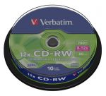 Диски CD-RW Verbatim Extra Protection 8х-12x 700Mb туба 10шт